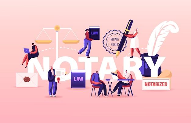 공증인 전문 서비스 개념. 사람들은 서명 및 합법화 문서를 위해 변호사 사무실을 방문합니다. 만화 그림
