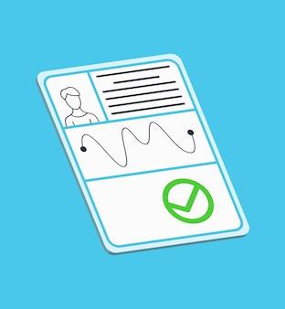 공증 서비스 광고. 법적 종이 문서 또는 파란색 배경에 고립. 평면 스타일의 색 벡터 일러스트 레이 션