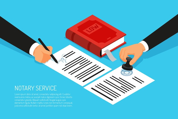 Notary service execution of documents seal and signature on papers on blue  isometric