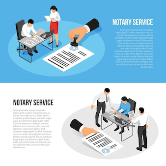 Notary service isometric horizontal banners with persons during documents execution isolated on blue white