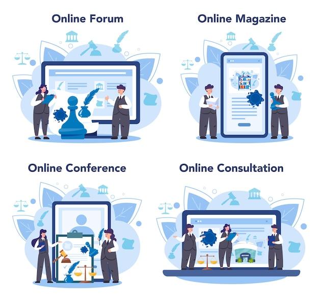 Premium Vector Notary Service Online Service Or Platform Set