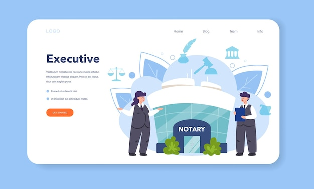 Notary service web banner or landing page. professional lawyer signing and legalizing paper document. person witnessing signatures on document.