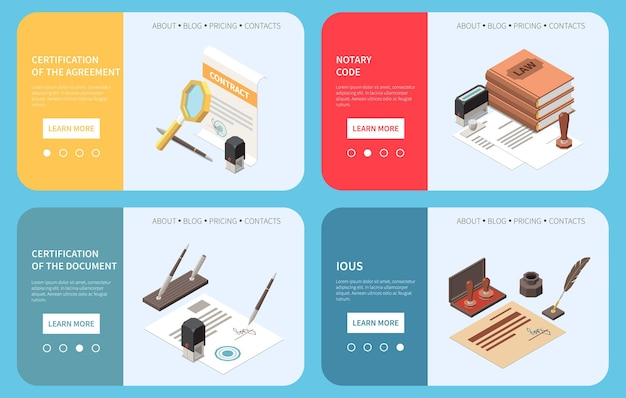 Notary services web banners illustration