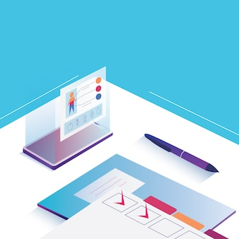 Note and manage app controlling isometric smart technology concept