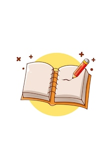 Note book with pencil icon cartoon illustration