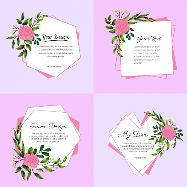 Note flower frame set design square hexagon and love