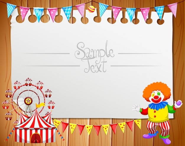 Note frame template design with clown and circus
