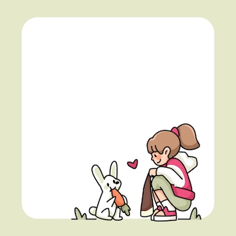 Note pad cute girl and rabbit with carrot designs to do list daily notes