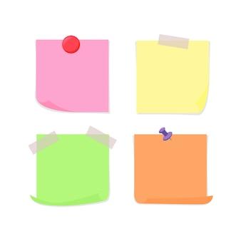 Бумага для заметок, прикрепленная с помощью липкой ленты, канцелярской кнопки и магнита