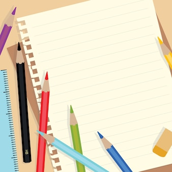 Note paper and colored pencils
