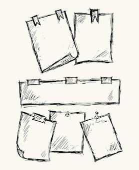 Бумага для заметок с и канцелярской кнопки векторные иллюстрации