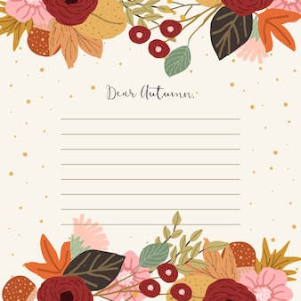 Note paper with autumn floral background