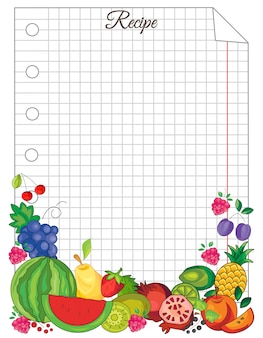 Note paper with fruit template