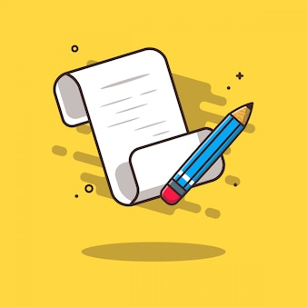 Note paper with pencil icon illustration. education icon concept white isolated.