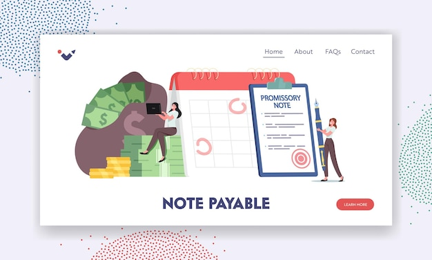 Note payable landing page template. tiny characters at huge promissory financial document. loan bill, debt return promise. issuer and payee signing deal contract. cartoon people vector illustration