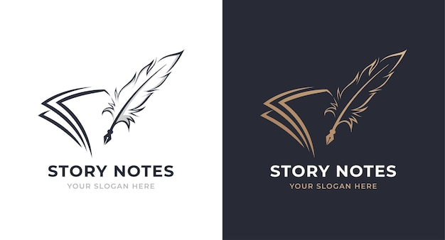 Note and quill logo design