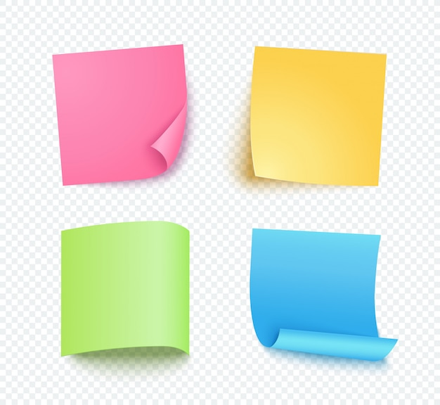 Note sheet of paper set with different shadow. colored blank post for message, to do list. set of pink, yellow, blue and green  sticky notes isolated on transparent .