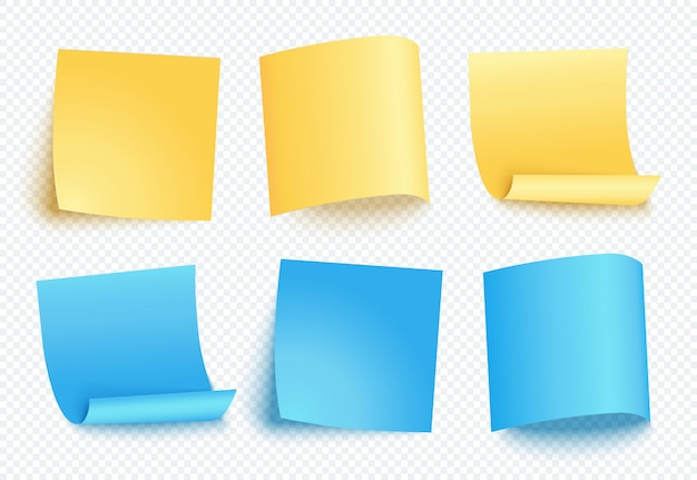 Note sheet of yellow and blue paper set with different shadow. blank post for message, to do list, memory. set of six  sticky notes isolated on transparent .