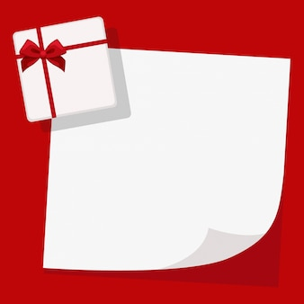 Note with gift on red christmas background