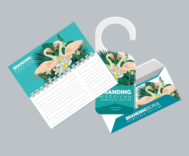 Тропический стиль notebbok с дверной этикеткой и конвертом