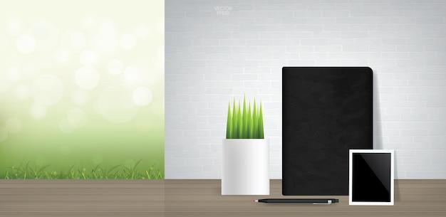 ノートブックと緑の自然な領域を持つヴィンテージの部屋のスペースの背景に装飾植物と空白のフォトフレーム。ベクトルイラスト。