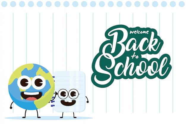 Ноутбук и планета земля школьные принадлежности дизайн иллюстрации персонажей каваи