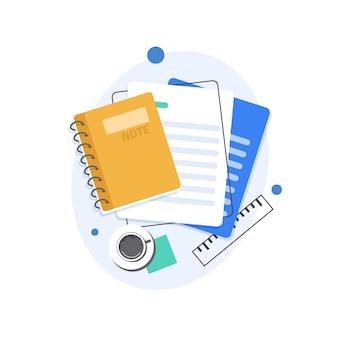 ノートとページフラットイラスト