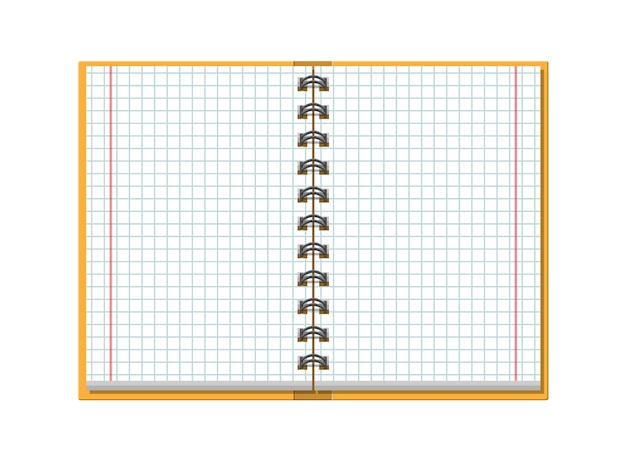 Notebook checked school paper. school, business, education template. stationery. office supply.