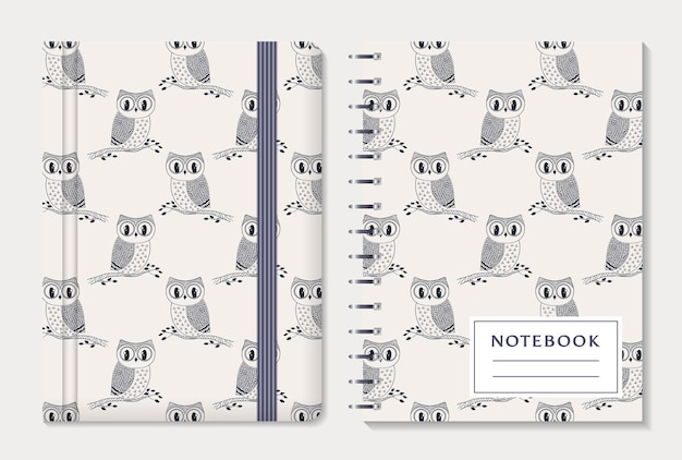 Notebook cover design. notepad with elastic band and spiral pad. cute collection with hand drawn owls.  set.