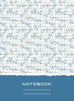 Notebook cover design. vector mathematical background.