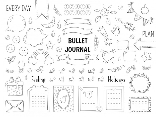Notebook doodle bullet. hand drawn diary frame, journal linear list borders and elements. sketch doodle elements planner notes design scribbles