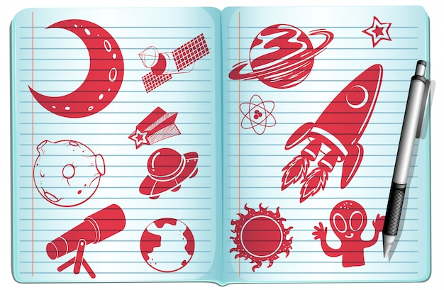 Notebook full with science symbols