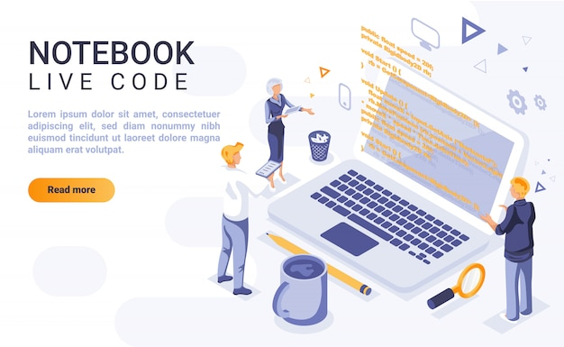 Notebook live code landing page banner  with isometric illustration