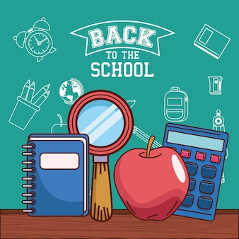 Notebook lupe apple and calculator design, back to school eduacation class and lesson theme