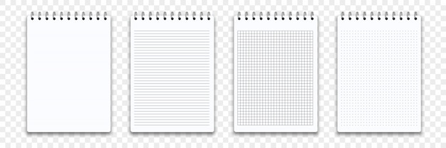Notebook memo notepad templates.   note pad or diary line and square paper page with binder