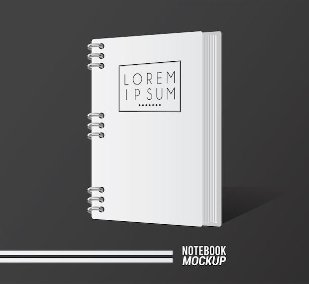 Notebook mockup color white icon.