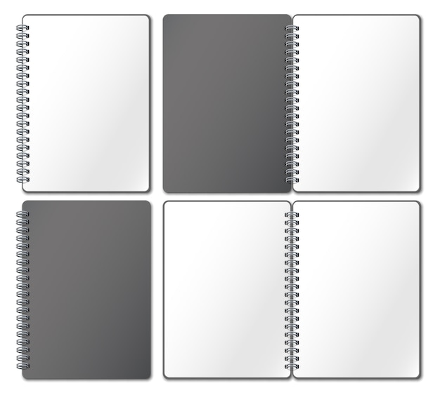 Notebook mockup. empty copybook, notebooks pages binded on metal spiral and open bound sketchbook realistic 3d illustration