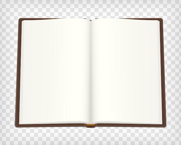 ノートブックのモックアップ。茶色の表紙の空のスケッチブック。あなたのデザインのための場所でアートブックを開きます。空白のスケッチブックのモックアップ。ベクトルイラスト。