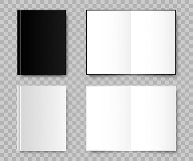 ノート。ノートブックのリアルな黒と白の色。分離されたテンプレートノートブック。図