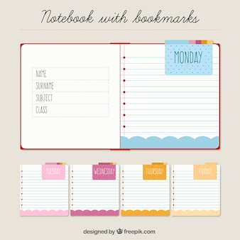 Notebook and notes to organize the week