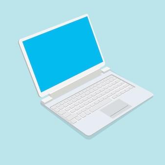 Ноутбук на синем фоне. иллюстрации.