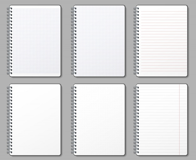 Notebook page. lined and dotted pages, notebooks binded on metal spiral and padded sheet mockup template illustration set