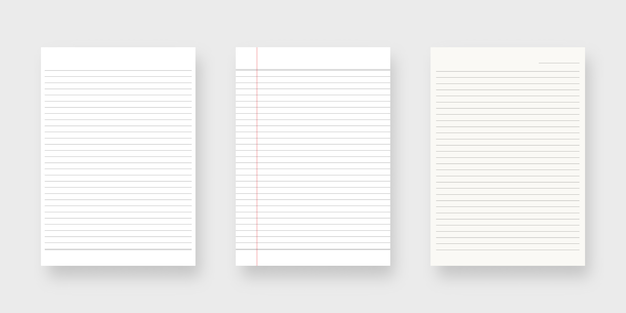 Notebook paper set. sheet of lined paper template. isolated. template design. realistic illustration.