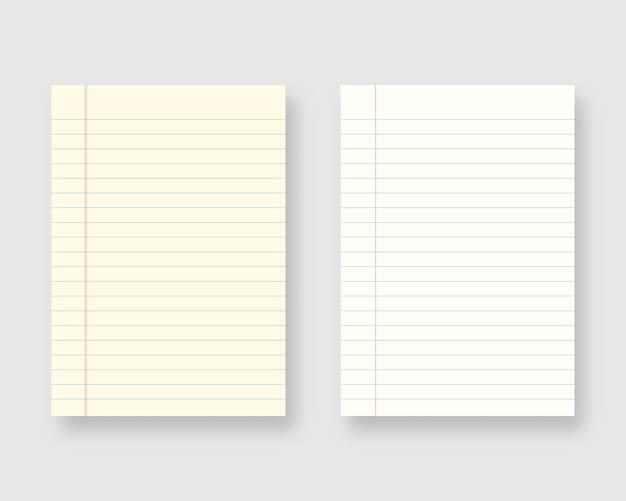 Notebook paper set. sheet of lined paper