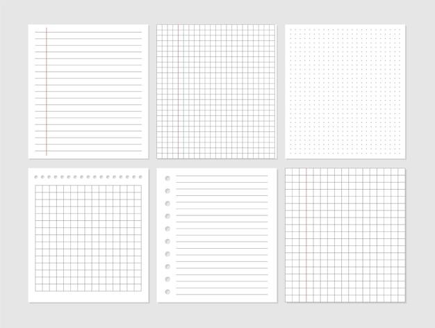 노트북 종이 시트 문서. 그래픽 빈 종이 시트 데이터 표현. 벡터 빈 메모 용지입니다. 목록 템플릿을 기억하십시오. 줄 지어 학교 카드.