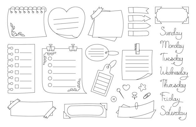 ノート用紙付箋紙ブラックラインセット。計画と曜日の要素が記載された空白のステッカー。抽象的なグラフィックメモ帳のカールしたコーナー、押しピン。様々なタグ営業所、シートの書き込みを思い出させる