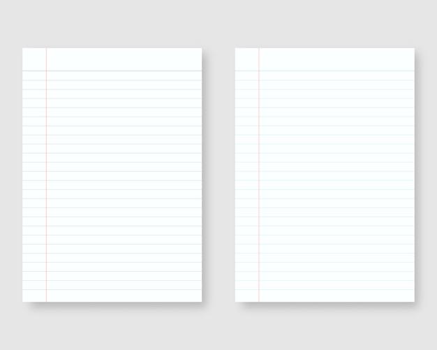 ラインとマージンのあるノート用紙。罫線入り用紙テンプレートのシート。分離されました。テンプレートデザイン。リアルなイラスト。