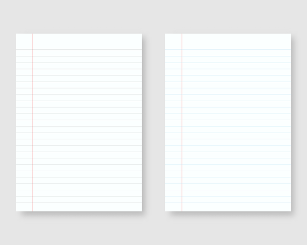 Notebook paper with line and margin. sheet of lined paper template. isolated. template design. realistic   illustration.