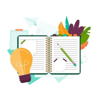 노트북, 연필 및 스티커입니다. 아이디어를 검색하십시오. 영감. 아이디어를위한 노트북.