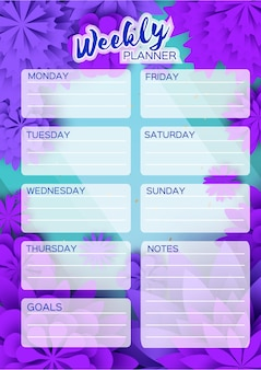 Блокнот-планировщик. еженедельный планировщик. симпатичная страница для заметок. блокноты, декали, дневники, школьные принадлежности. симпатичные фиолетовые срезанные цветы из бумаги. цветочные листья природы.